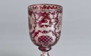 5 ~ číše ~ sklo čiré a rubínové ~ styl Egermann ~ 2. pol. 19. stol. ~ vyvolávací cena 1 000 Kč